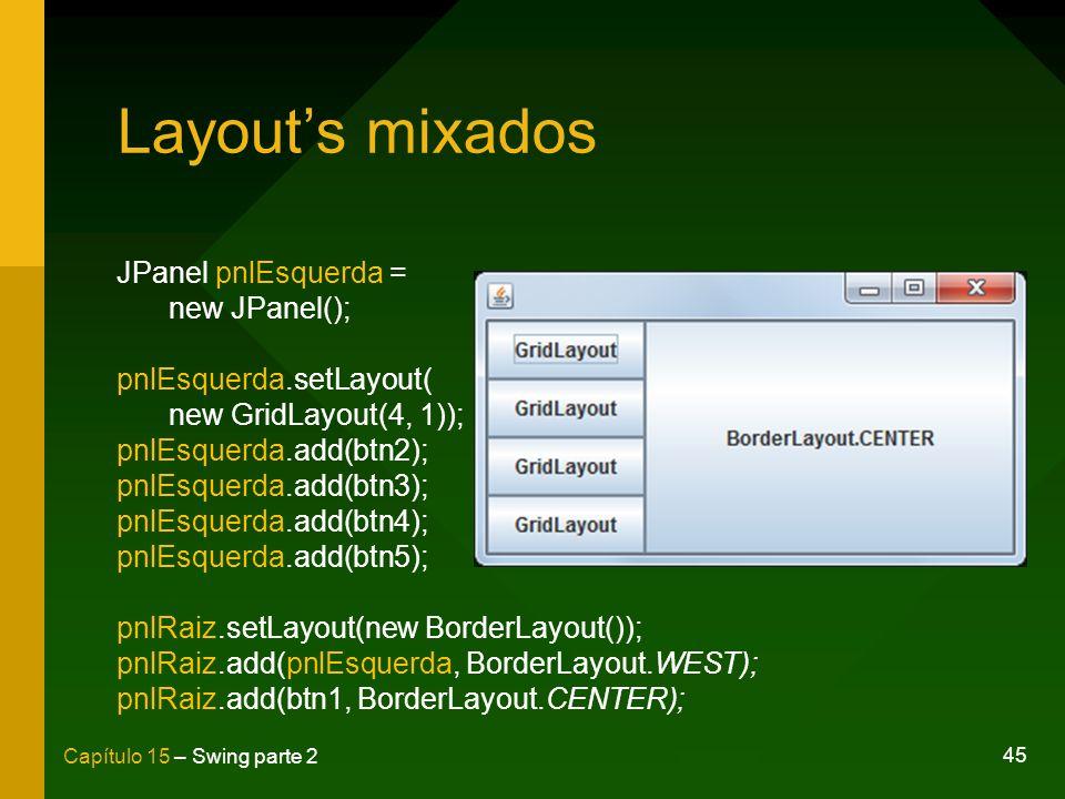 45 Capítulo 15 – Swing parte 2 Layouts mixados JPanel pnlEsquerda = new JPanel(); pnlEsquerda.setLayout( new GridLayout(4, 1)); pnlEsquerda.add(btn2);