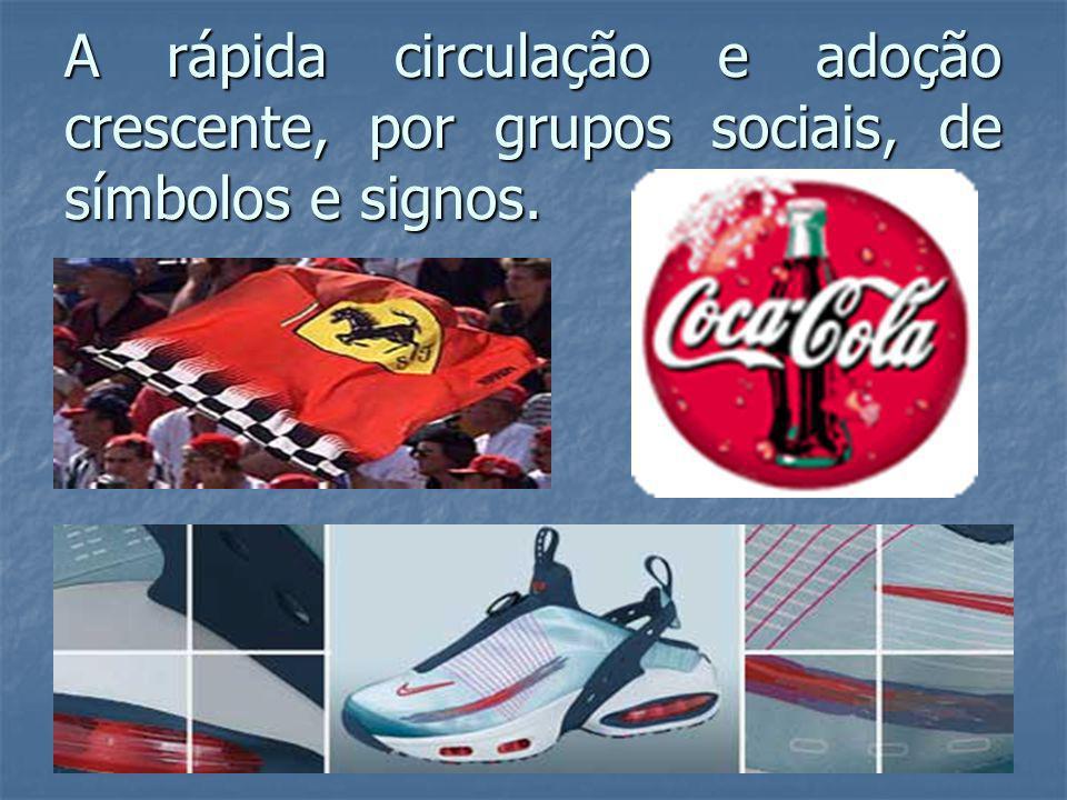 A rápida circulação e adoção crescente, por grupos sociais, de símbolos e signos.