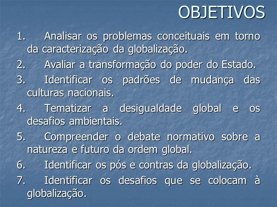 OBJETIVOS 1. Analisar os problemas conceituais em torno da caracterização da globalização. 2. Avaliar a transformação do poder do Estado. 3. Identific