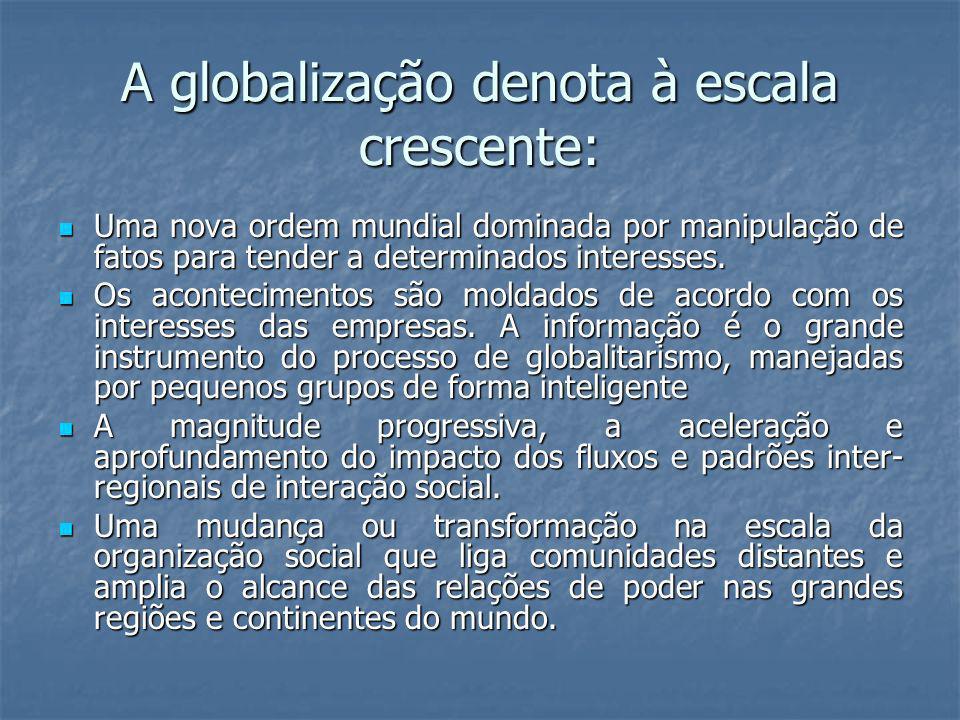 A globalização denota à escala crescente: Uma nova ordem mundial dominada por manipulação de fatos para tender a determinados interesses. Uma nova ord