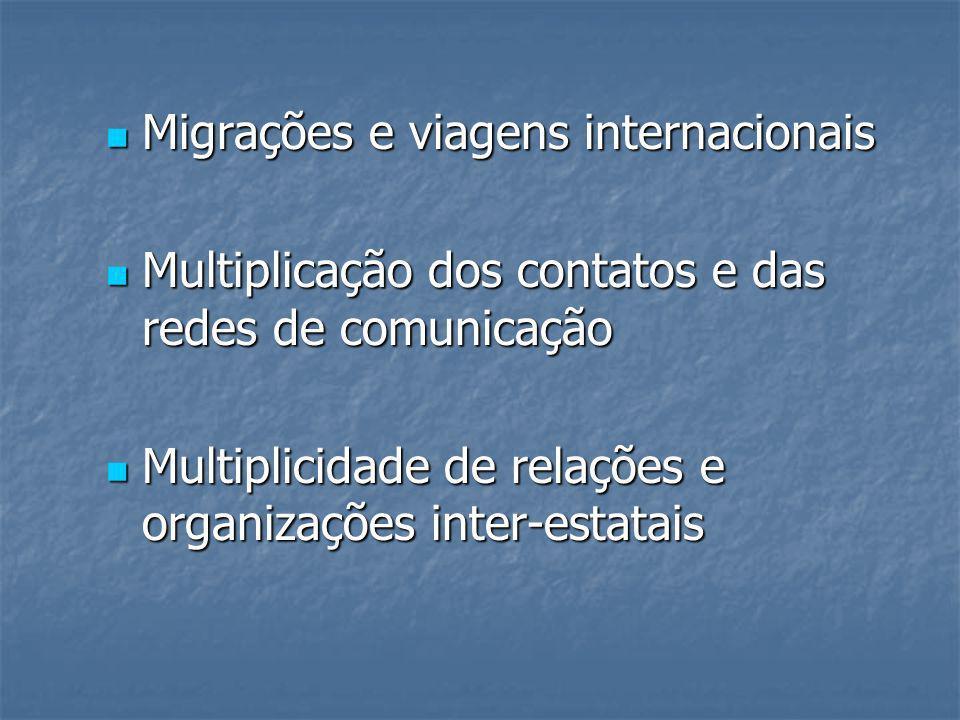 Migrações e viagens internacionais Migrações e viagens internacionais Multiplicação dos contatos e das redes de comunicação Multiplicação dos contatos