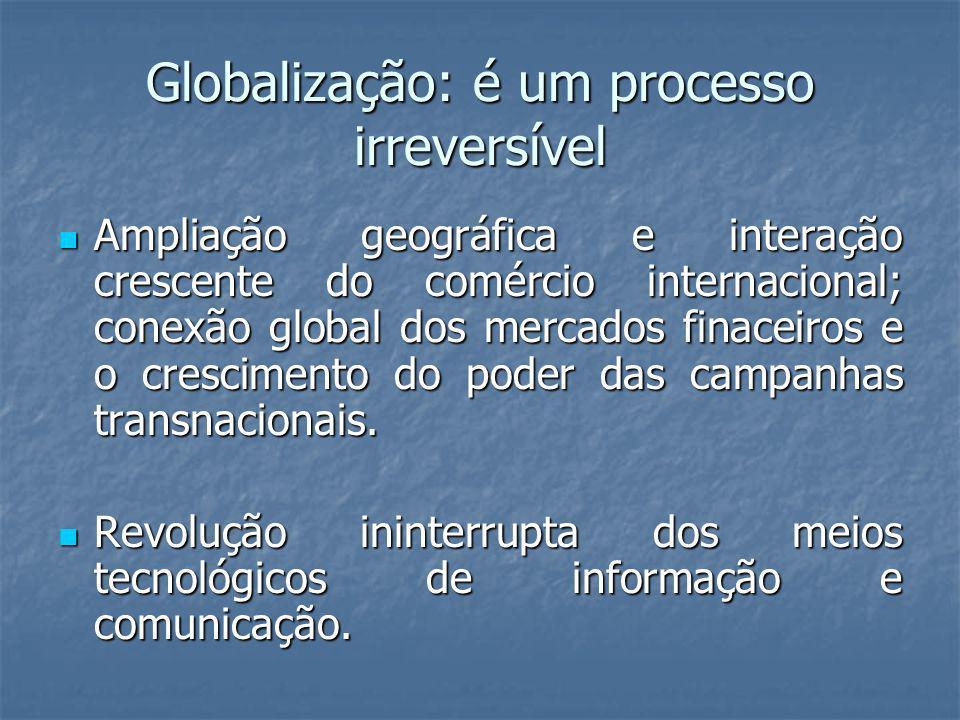 Globalização: é um processo irreversível Ampliação geográfica e interação crescente do comércio internacional; conexão global dos mercados finaceiros