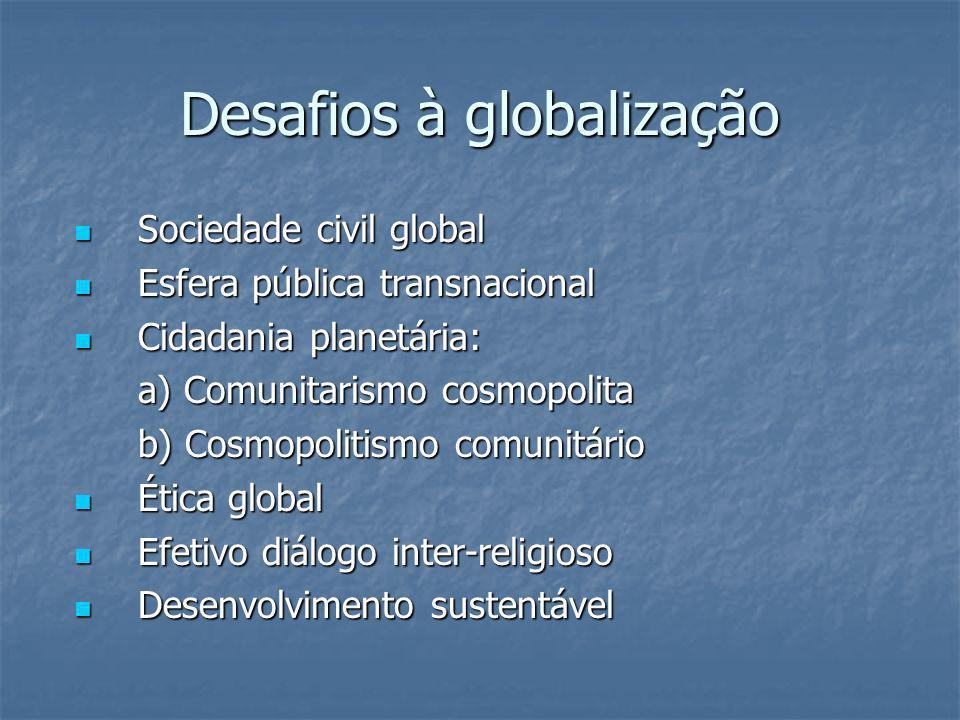 Desafios à globalização Sociedade civil global Sociedade civil global Esfera pública transnacional Esfera pública transnacional Cidadania planetária: