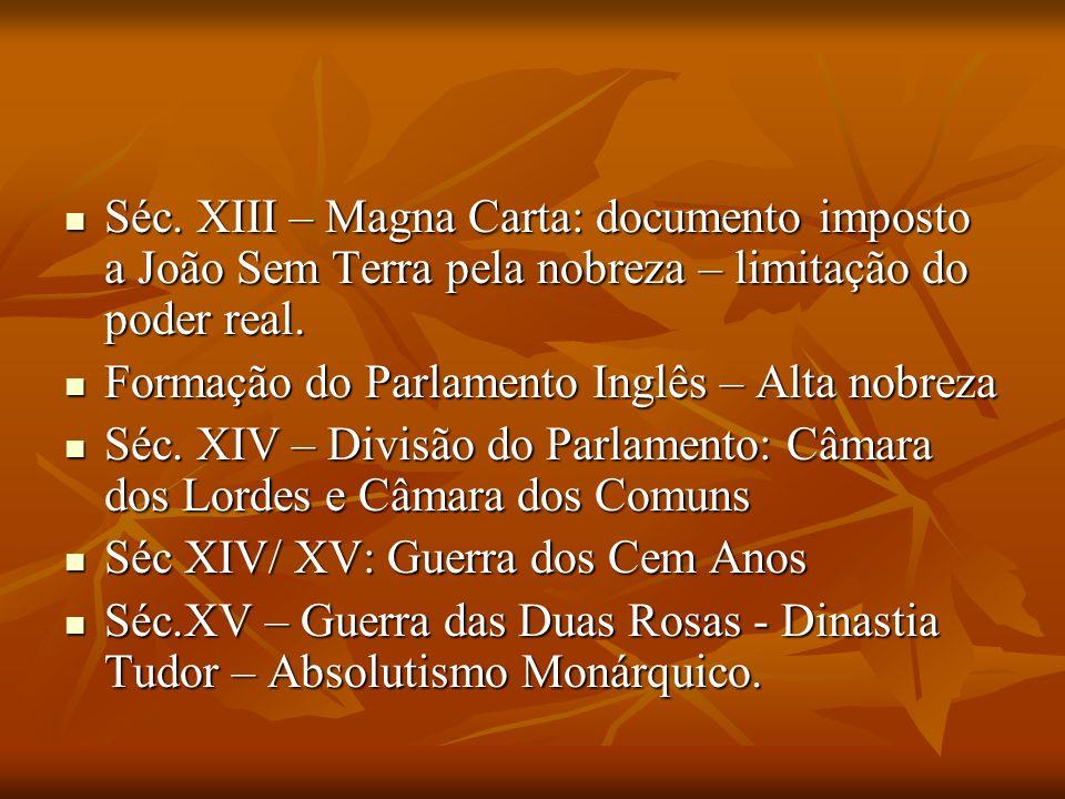Séc. XIII – Magna Carta: documento imposto a João Sem Terra pela nobreza – limitação do poder real. Séc. XIII – Magna Carta: documento imposto a João