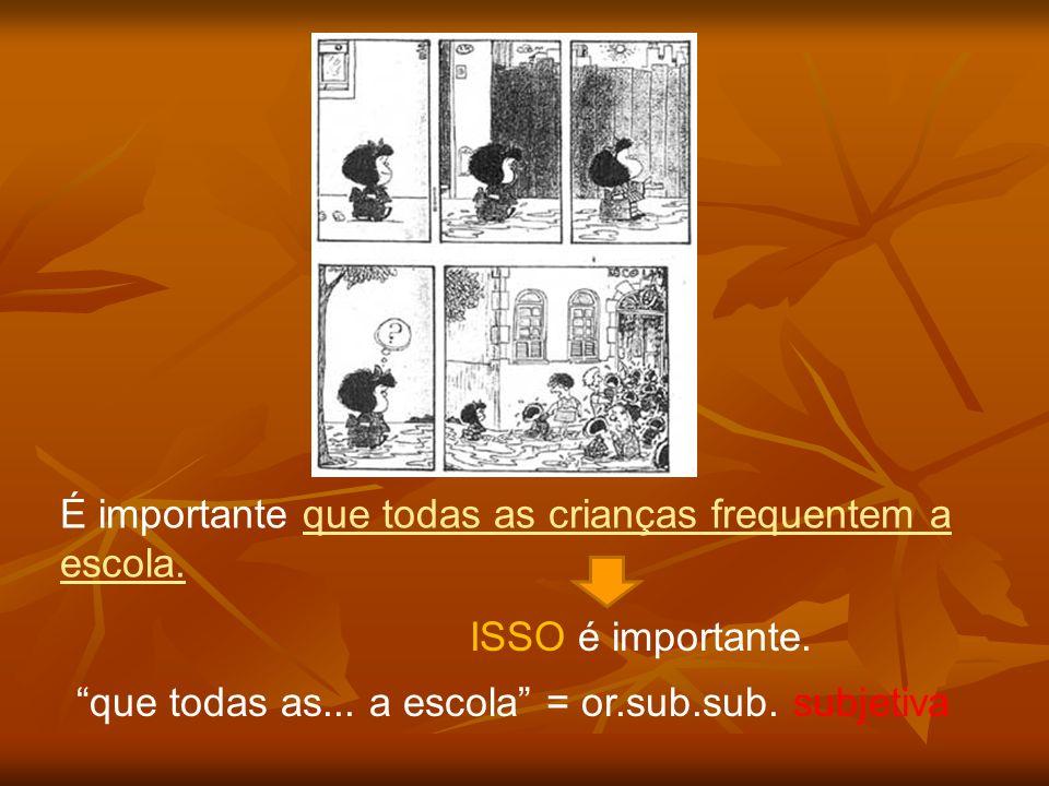 É importante que todas as crianças frequentem a escola. ISSO é importante. que todas as... a escola = or.sub.sub. subjetiva