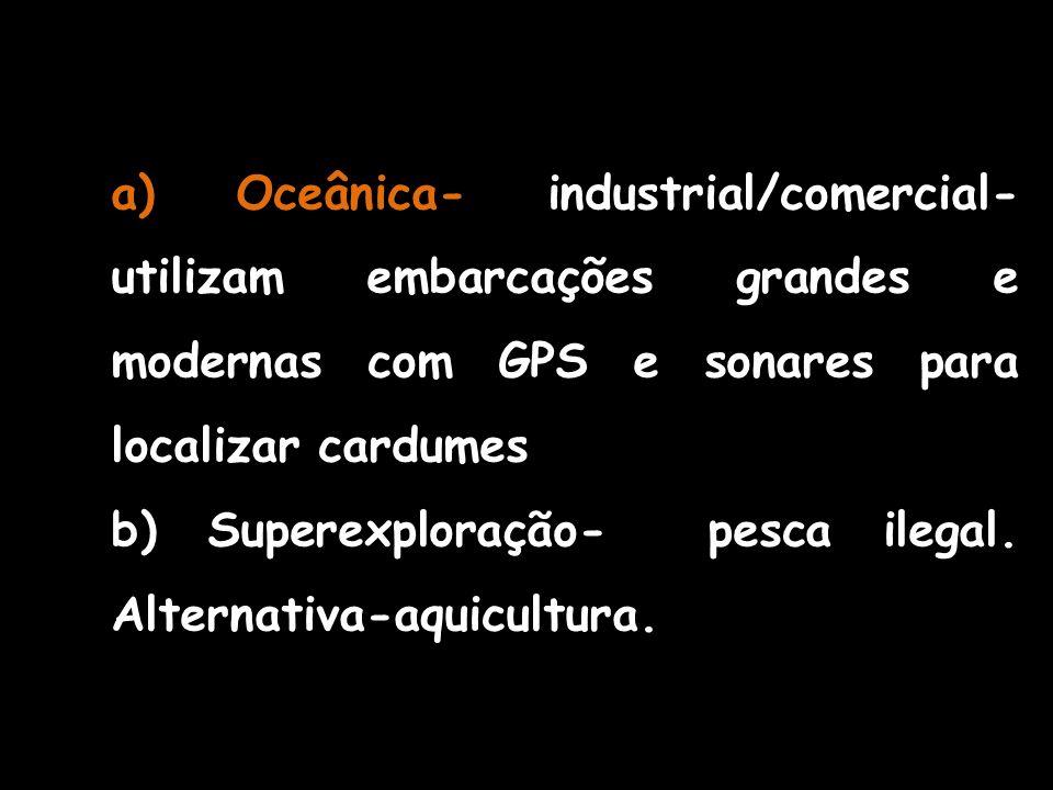 a) Oceânica- industrial/comercial- utilizam embarcações grandes e modernas com GPS e sonares para localizar cardumes b) Superexploração- pesca ilegal.
