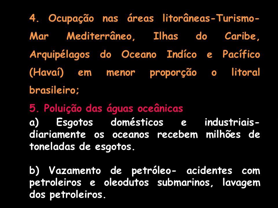 4. Ocupação nas áreas litorâneas-Turismo- Mar Mediterrâneo, Ilhas do Caribe, Arquipélagos do Oceano Indíco e Pacífico (Havaí) em menor proporção o lit
