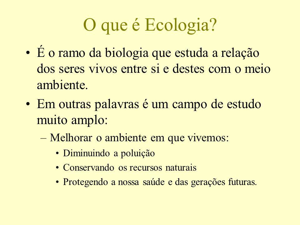 O que é Ecologia? É o ramo da biologia que estuda a relação dos seres vivos entre si e destes com o meio ambiente. Em outras palavras é um campo de es