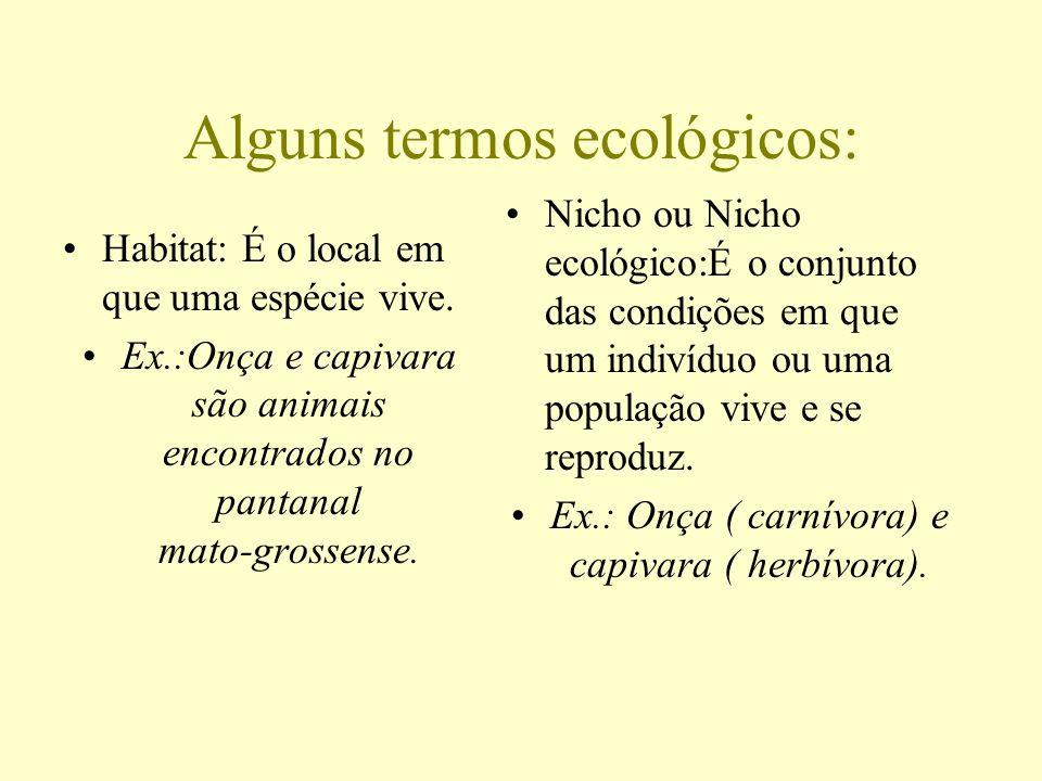 Alguns termos ecológicos: Habitat: É o local em que uma espécie vive. Ex.:Onça e capivara são animais encontrados no pantanal mato-grossense. Nicho ou