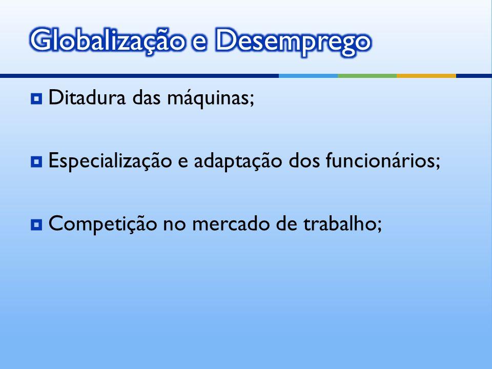 Ditadura das máquinas; Especialização e adaptação dos funcionários; Competição no mercado de trabalho;