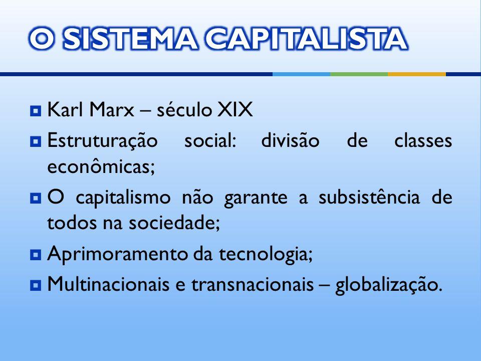 Karl Marx – século XIX Estruturação social: divisão de classes econômicas; O capitalismo não garante a subsistência de todos na sociedade; Aprimoramen
