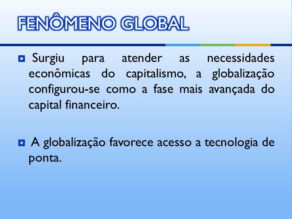 Surgiu para atender as necessidades econômicas do capitalismo, a globalização configurou-se como a fase mais avançada do capital financeiro. A globali
