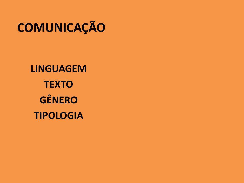 COMUNICAÇÃO LINGUAGEM TEXTO GÊNERO TIPOLOGIA