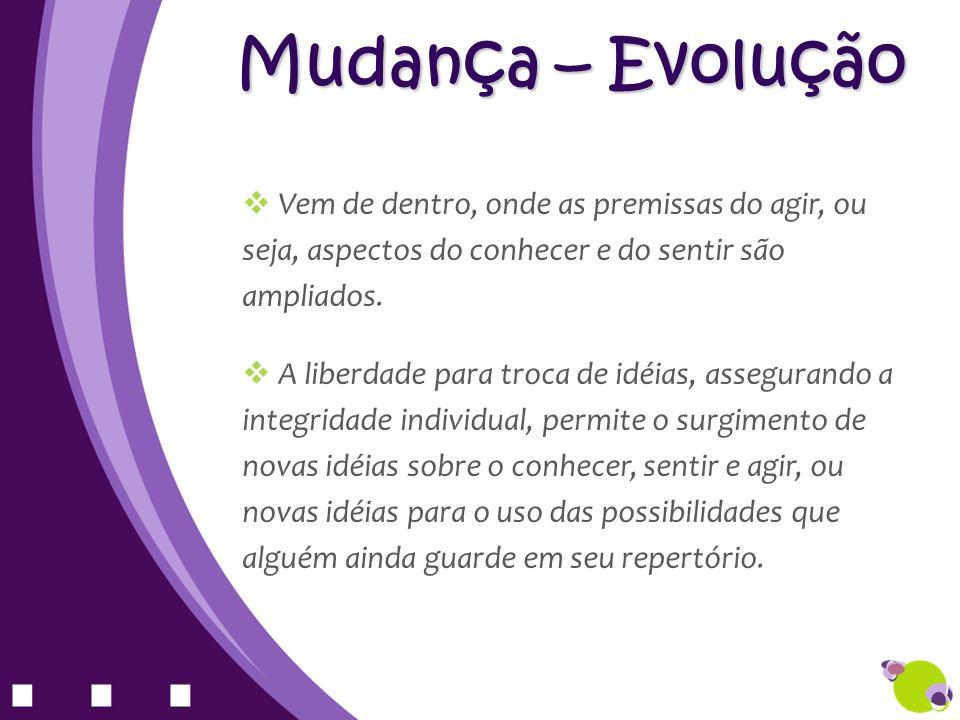Mudança – Evolução Vem de dentro, onde as premissas do agir, ou seja, aspectos do conhecer e do sentir são ampliados. A liberdade para troca de idéias