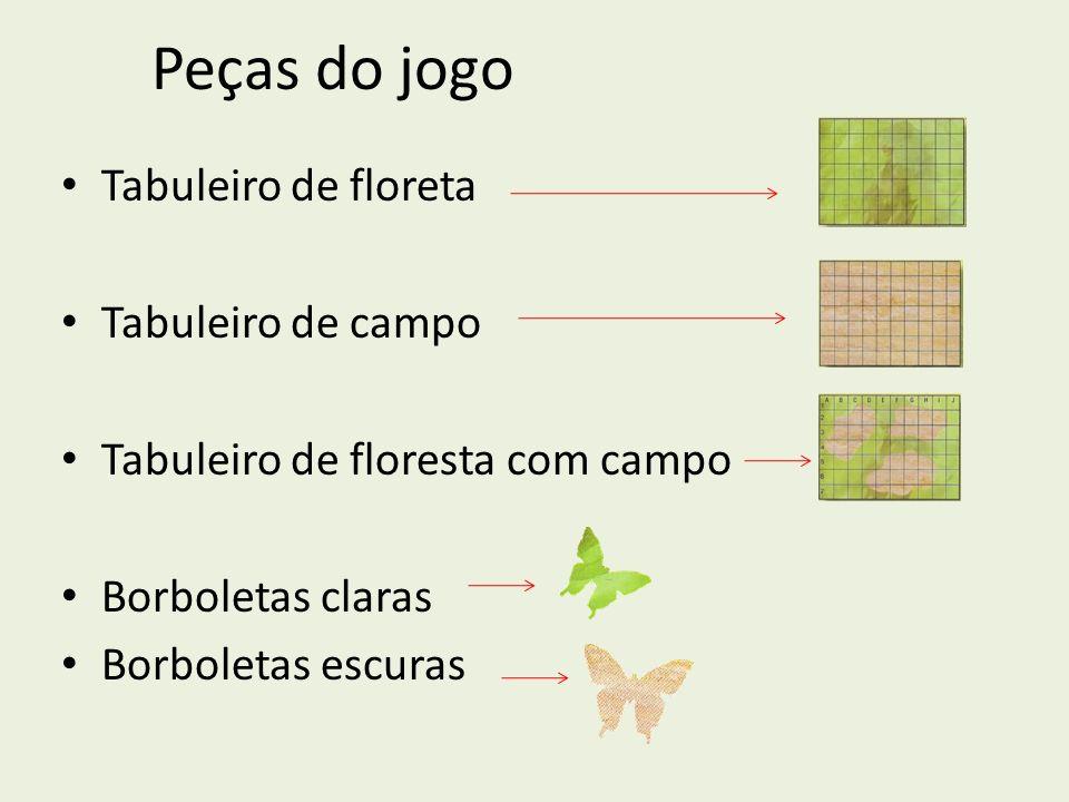 Peças do jogo Tabuleiro de floreta Tabuleiro de campo Tabuleiro de floresta com campo Borboletas claras Borboletas escuras