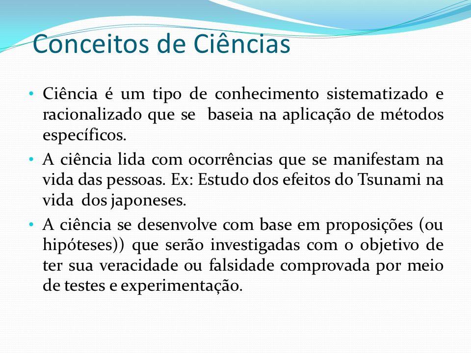 Conceitos de Ciências Ciência é um tipo de conhecimento sistematizado e racionalizado que se baseia na aplicação de métodos específicos. A ciência lid
