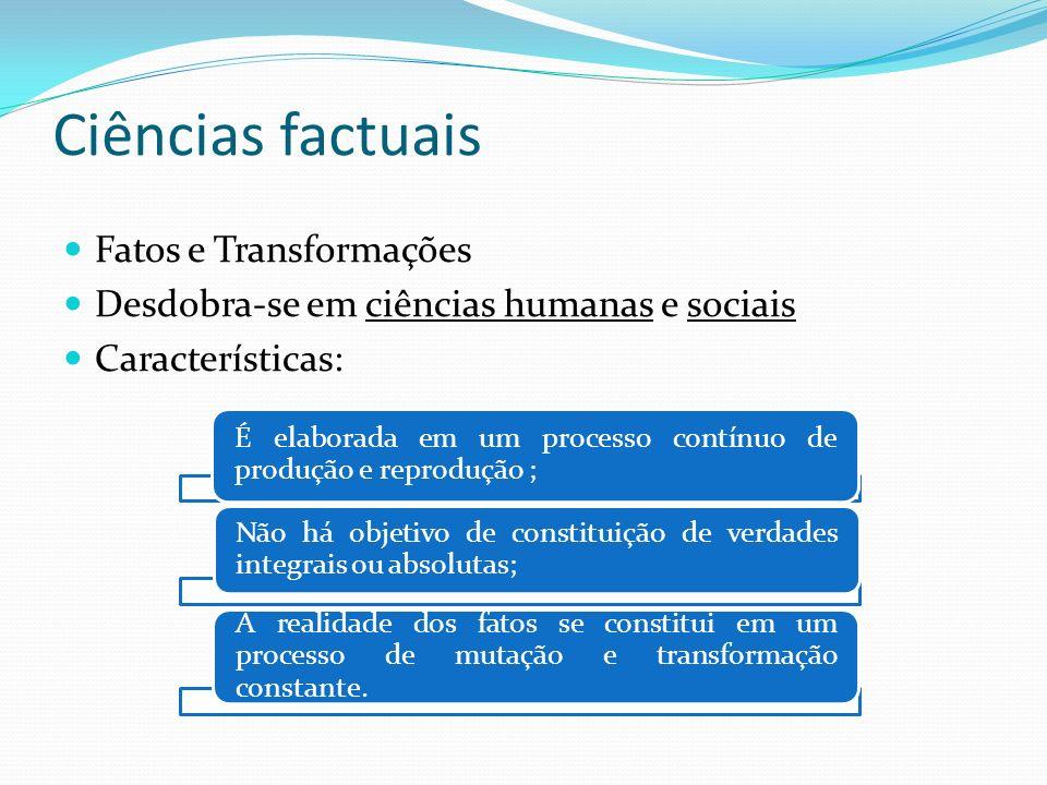 Ciências factuais Fatos e Transformações Desdobra-se em ciências humanas e sociais Características: É elaborada em um processo contínuo de produção e
