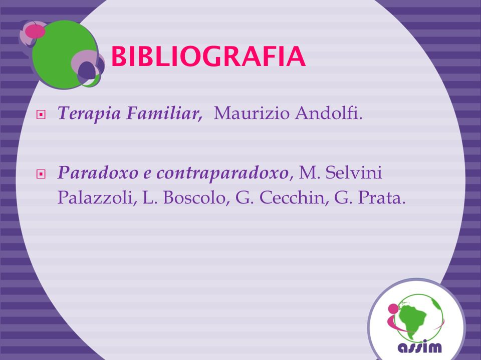 BIBLIOGRAFIA Terapia Familiar, Maurizio Andolfi. Paradoxo e contraparadoxo, M. Selvini Palazzoli, L. Boscolo, G. Cecchin, G. Prata.