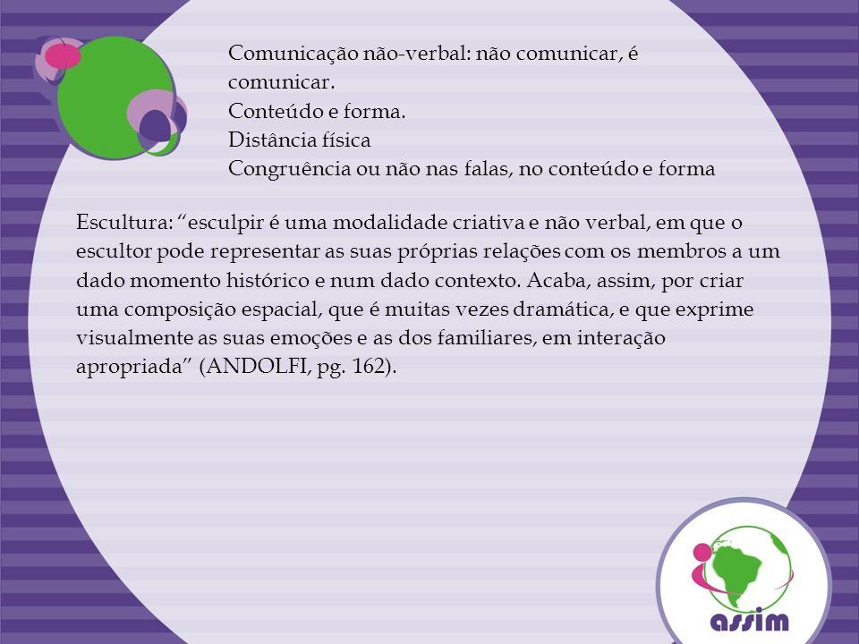 Comunicação não-verbal: não comunicar, é comunicar. Conteúdo e forma. Distância física Congruência ou não nas falas, no conteúdo e forma Escultura: es