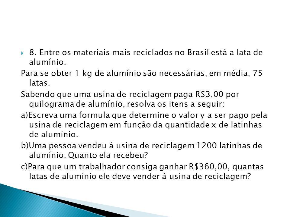8. Entre os materiais mais reciclados no Brasil está a lata de alumínio. Para se obter 1 kg de alumínio são necessárias, em média, 75 latas. Sabendo q