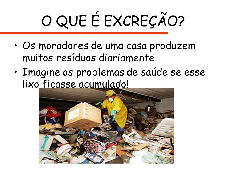 O QUE É EXCREÇÃO? Os moradores de uma casa produzem muitos resíduos diariamente. Imagine os problemas de saúde se esse lixo ficasse acumulado!