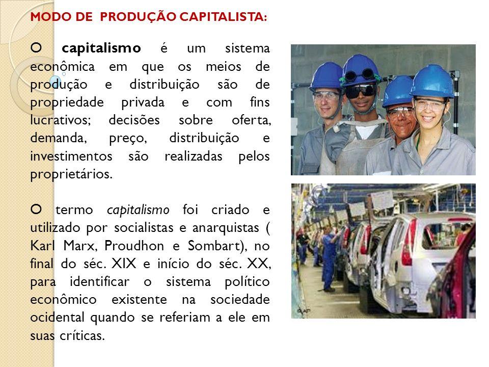 MODO DE PRODUÇÃO CAPITALISTA: O capitalismo é um sistema econômica em que os meios de produção e distribuição são de propriedade privada e com fins lu