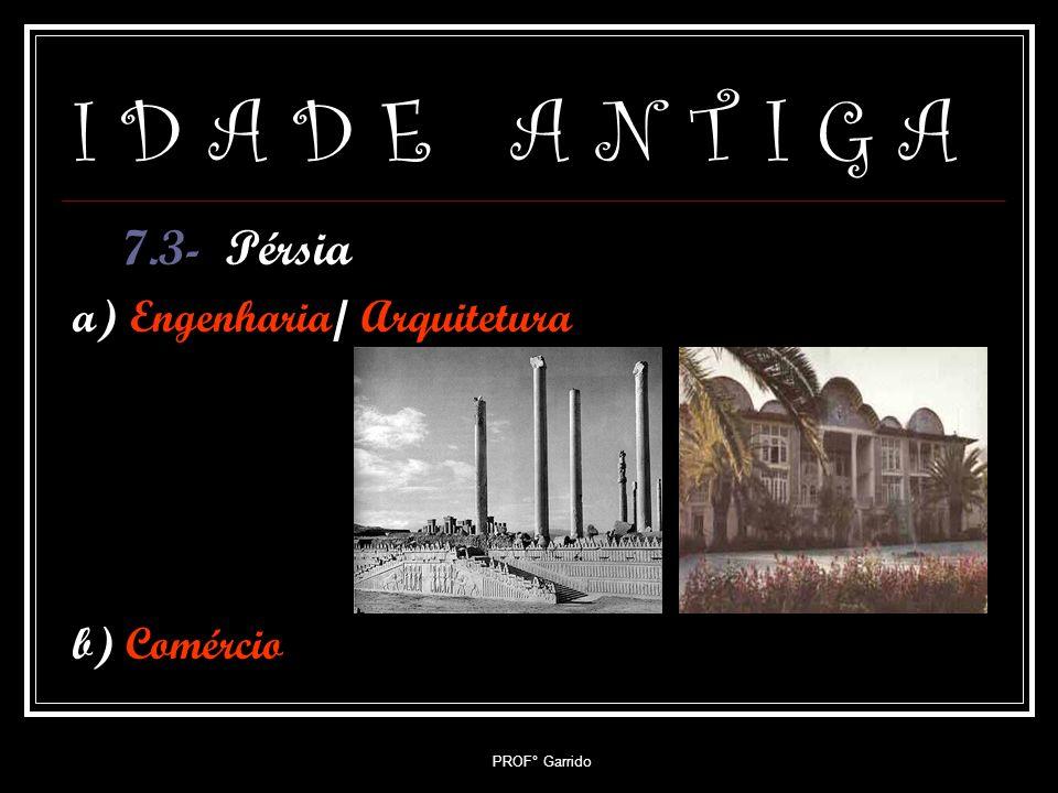 PROF° Garrido I D A D E A N T I G A 7.2- Mesopotâmia a) Engenharia/ Arquitetura b) Direito: Código De Hammurabi