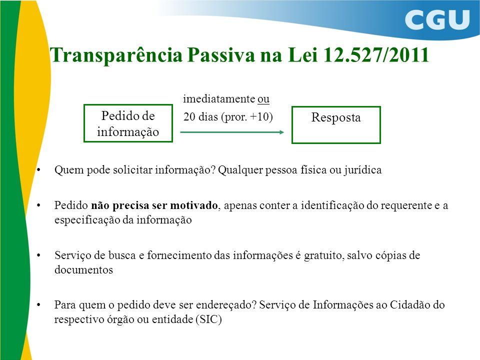 Transparência Passiva na Lei 12.527/2011 imediatamente ou 20 dias (pror. +10) Quem pode solicitar informação? Qualquer pessoa física ou jurídica Pedid