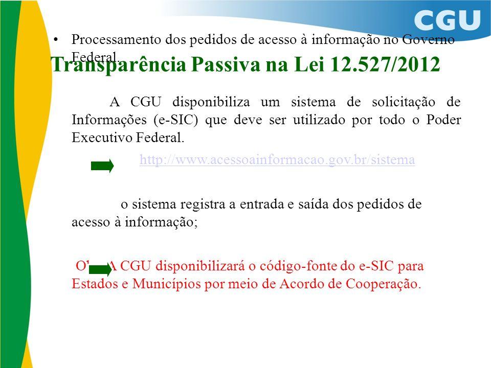 Transparência Passiva na Lei 12.527/2012 Processamento dos pedidos de acesso à informação no Governo Federal. A CGU disponibiliza um sistema de solici