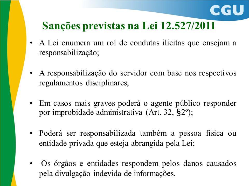 Sanções previstas na Lei 12.527/2011 A Lei enumera um rol de condutas ilícitas que ensejam a responsabilização; A responsabilização do servidor com base nos respectivos regulamentos disciplinares; Em casos mais graves poderá o agente público responder por improbidade administrativa (Art.