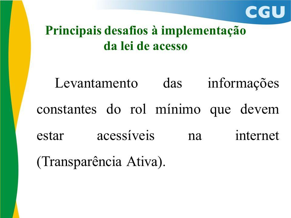 Principais desafios à implementação da lei de acesso Levantamento das informações constantes do rol mínimo que devem estar acessíveis na internet (Transparência Ativa).