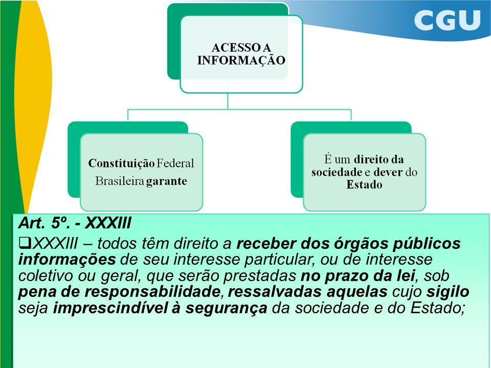 Art. 5º. - XXXIII XXXIII – todos têm direito a receber dos órgãos públicos informações de seu interesse particular, ou de interesse coletivo ou geral,