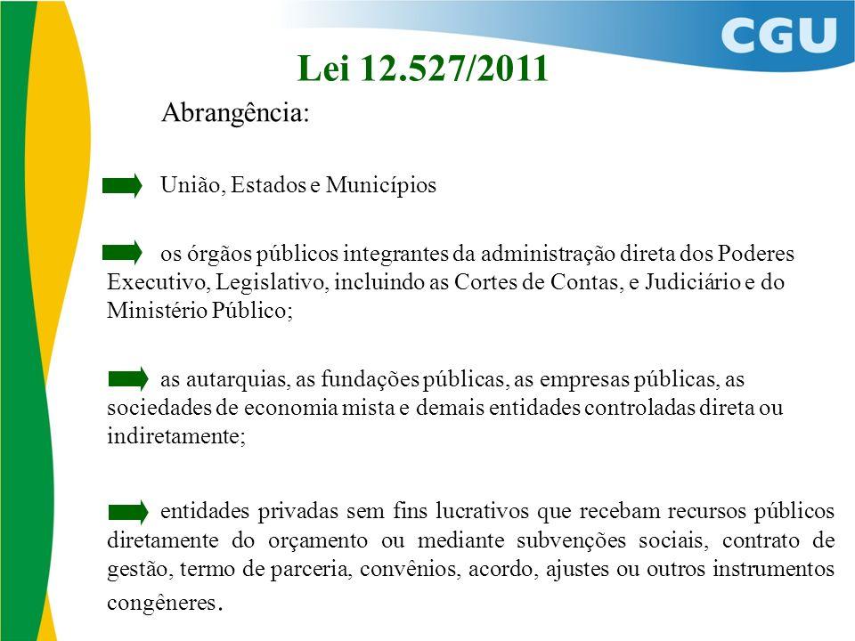 Lei 12.527/2011 Abrangência: União, Estados e Municípios os órgãos públicos integrantes da administração direta dos Poderes Executivo, Legislativo, in