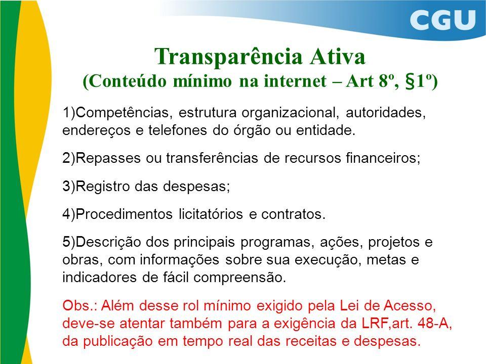 (Conteúdo mínimo na internet – Art 8º, §1º) 1)Competências, estrutura organizacional, autoridades, endereços e telefones do órgão ou entidade. 2)Repas