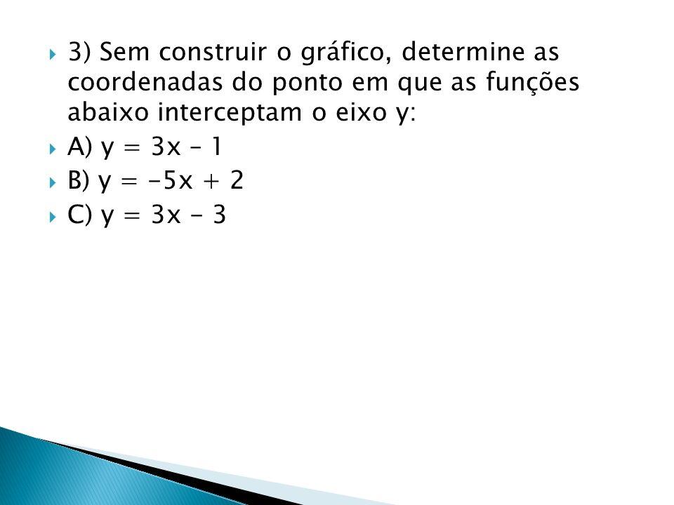 3) Sem construir o gráfico, determine as coordenadas do ponto em que as funções abaixo interceptam o eixo y: A) y = 3x – 1 B) y = -5x + 2 C) y = 3x -