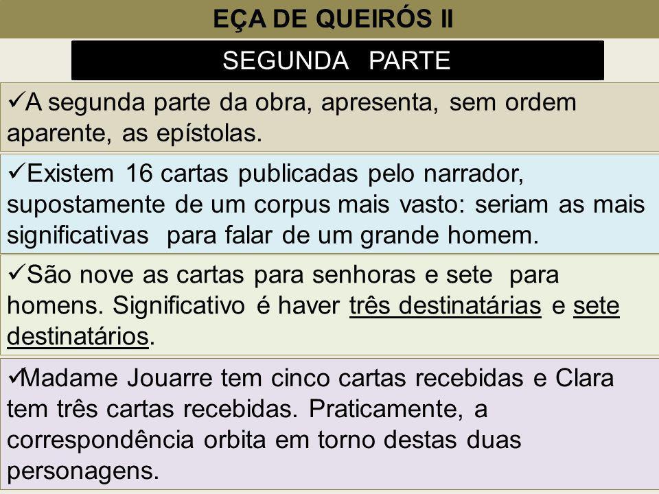 EÇA DE QUEIRÓS II SEGUNDA PARTE A segunda parte da obra, apresenta, sem ordem aparente, as epístolas. São nove as cartas para senhoras e sete para hom
