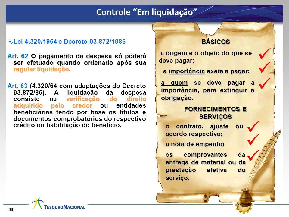 36 BÁSICOS a origem e o objeto do que se deve pagar; verificação do direito adquirido pelo credor Art. 63 (4.320/64 com adaptações do Decreto 93.872/8