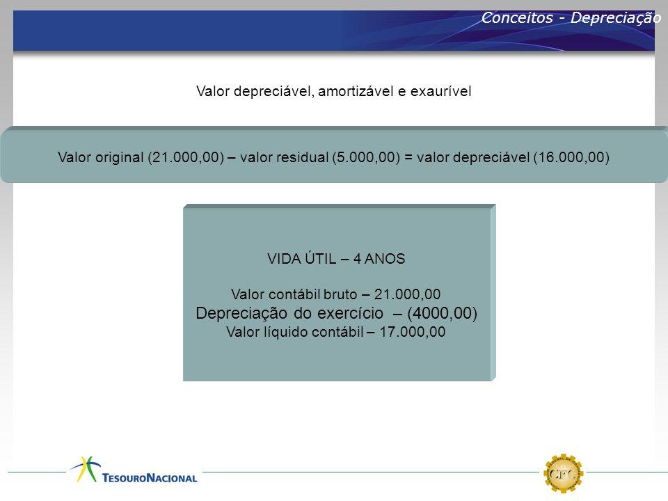 Conceitos - Depreciação Valor depreciável, amortizável e exaurível Valor original (21.000,00) – valor residual (5.000,00) = valor depreciável (16.000,