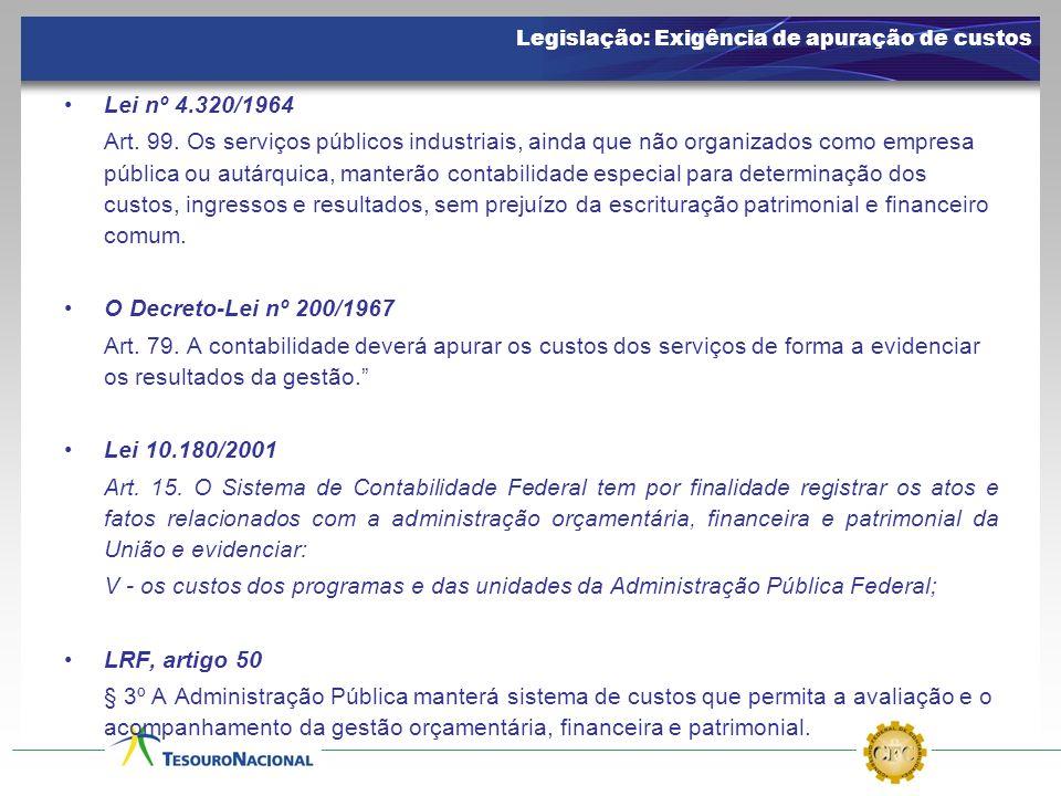 Lei nº 4.320/1964 Art. 99. Os serviços públicos industriais, ainda que não organizados como empresa pública ou autárquica, manterão contabilidade espe