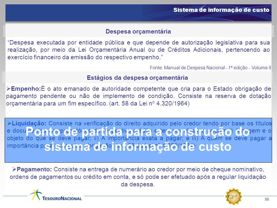 50 Despesa orçamentária Despesa executada por entidade pública e que depende de autorização legislativa para sua realização, por meio da Lei Orçamentá
