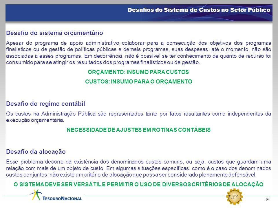 64 Desafios do Sistema de Custos no Setor Público Desafio do sistema orçamentário Apesar do programa de apoio administrativo colaborar para a consecuç