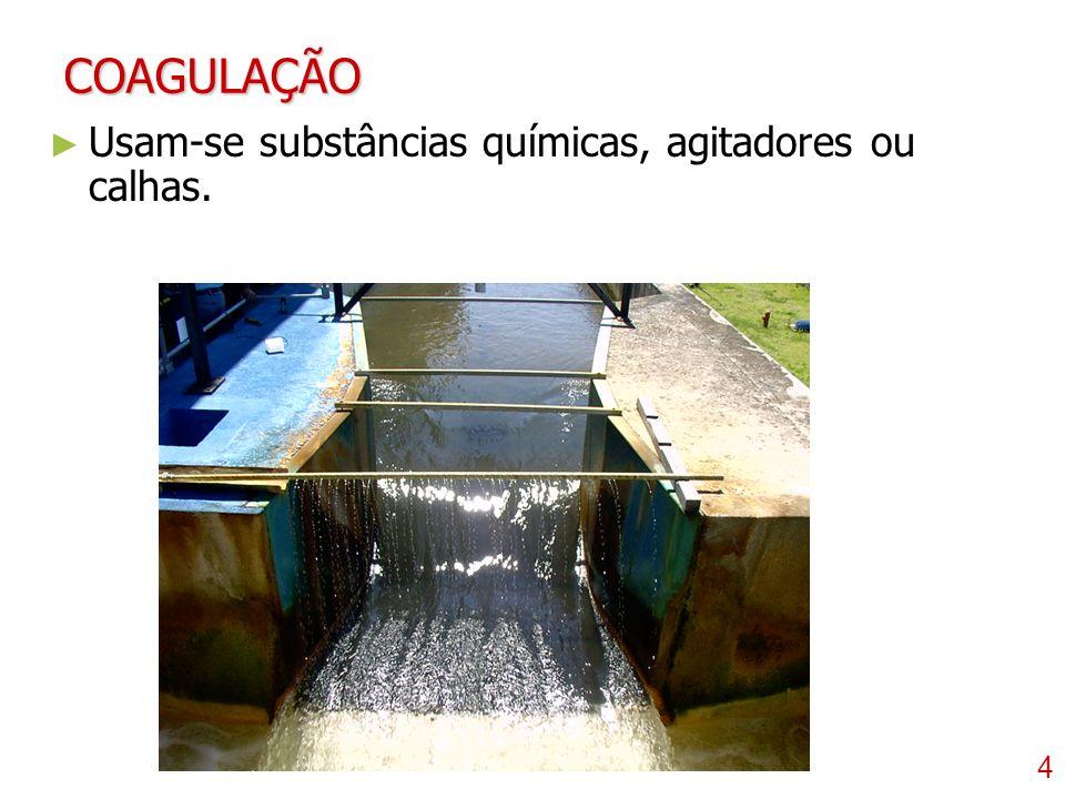 5 FLOCULAÇÃO Canal vertical ou horizontal. Canal vertical ou horizontal.