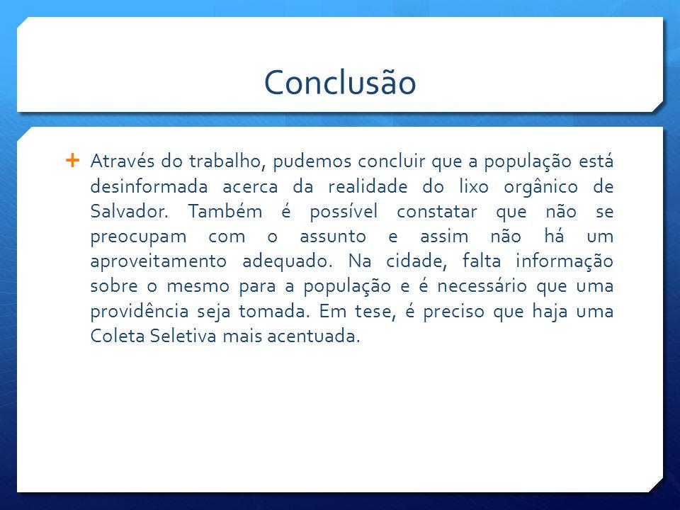 Conclusão Através do trabalho, pudemos concluir que a população está desinformada acerca da realidade do lixo orgânico de Salvador. Também é possível