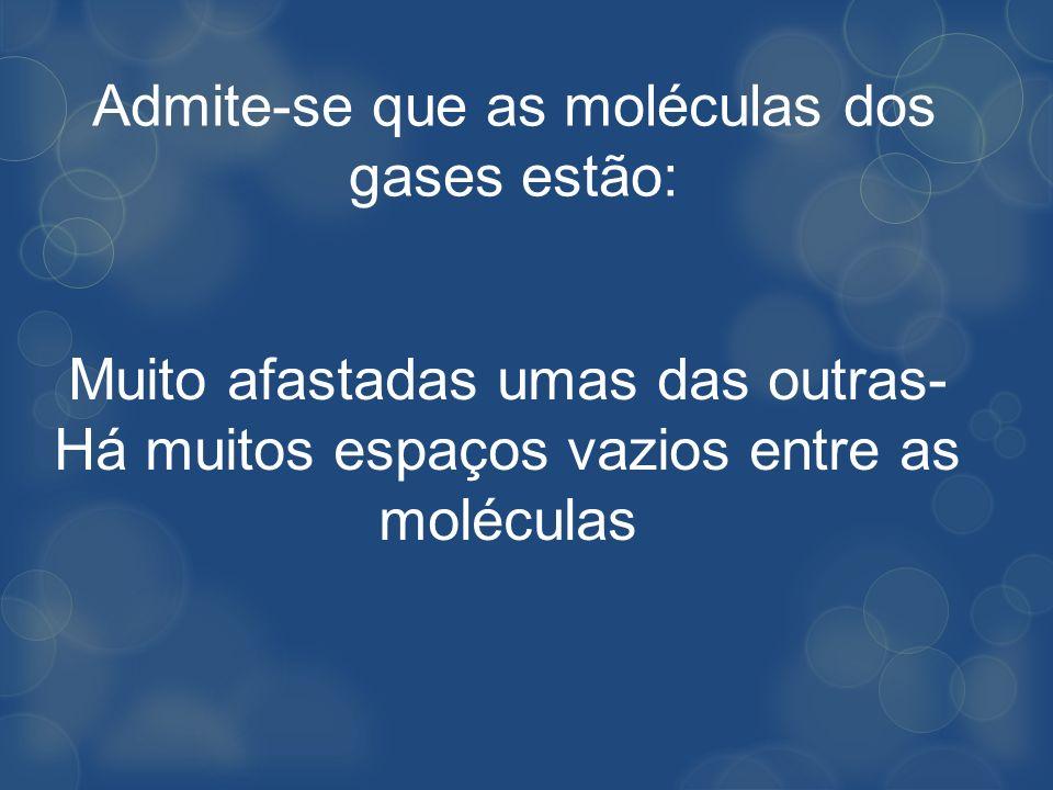Admite-se que as moléculas dos gases estão: Muito afastadas umas das outras- Há muitos espaços vazios entre as moléculas