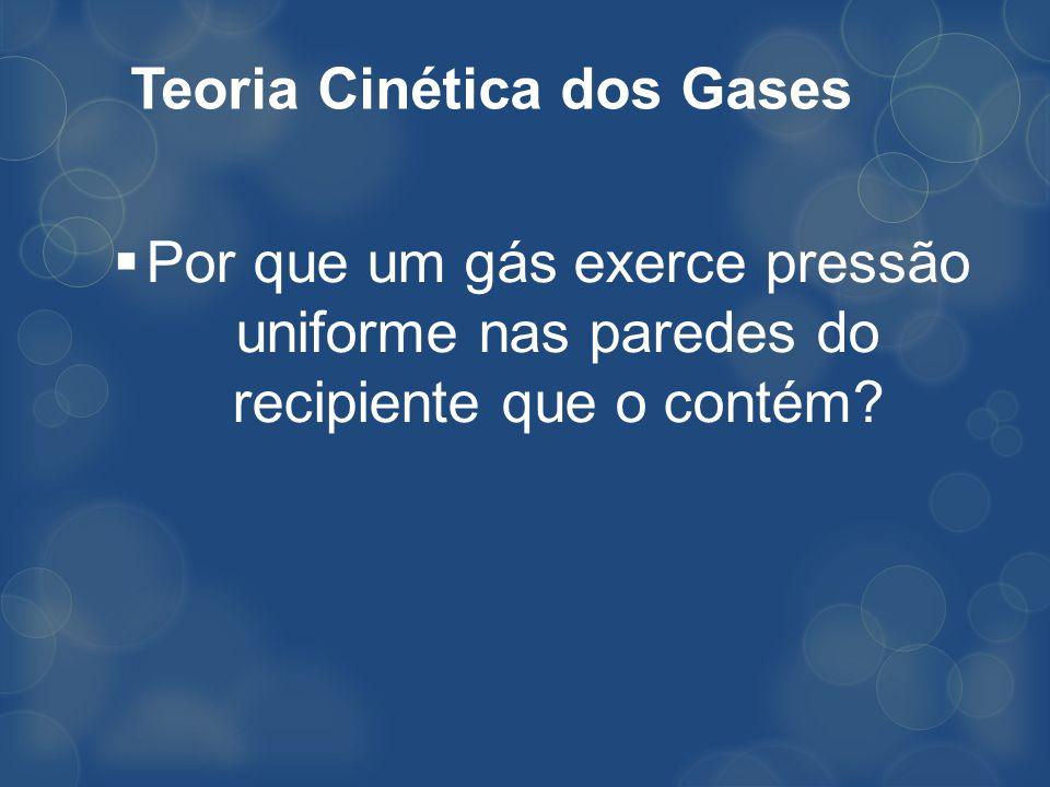 Teoria Cinética dos Gases Por que um gás exerce pressão uniforme nas paredes do recipiente que o contém?