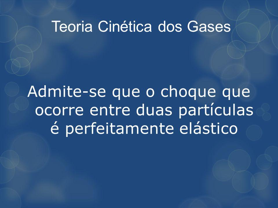 Admite-se que o choque que ocorre entre duas partículas é perfeitamente elástico Teoria Cinética dos Gases