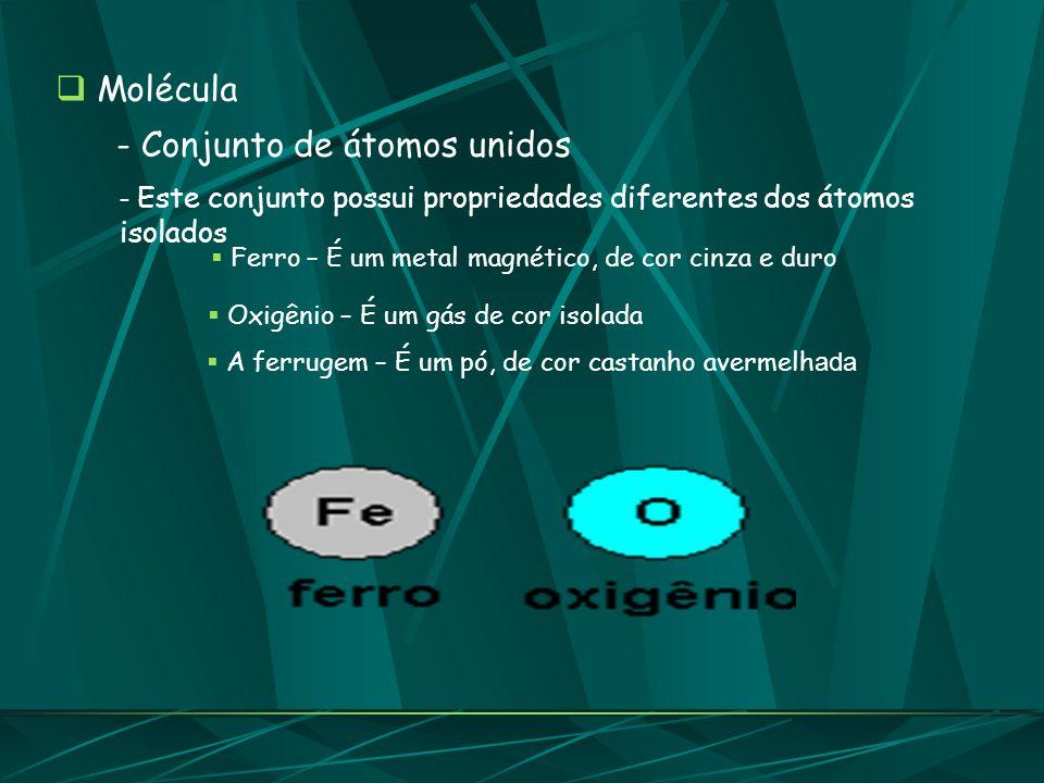 Molécula - Conjunto de átomos unidos - Este conjunto possui propriedades diferentes dos átomos isolados Ferro – É um metal magnético, de cor cinza e d
