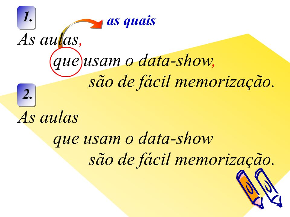 as quais As aulas, que usam o data-show, são de fácil memorização.