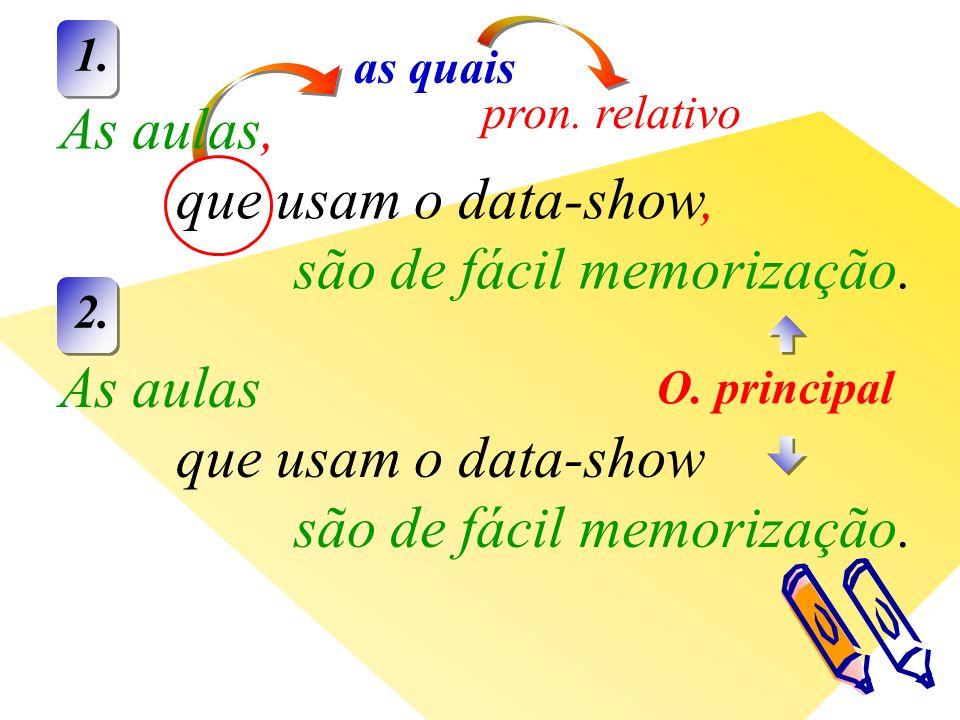 as quais pron. relativo As aulas, que usam o data-show, são de fácil memorização.