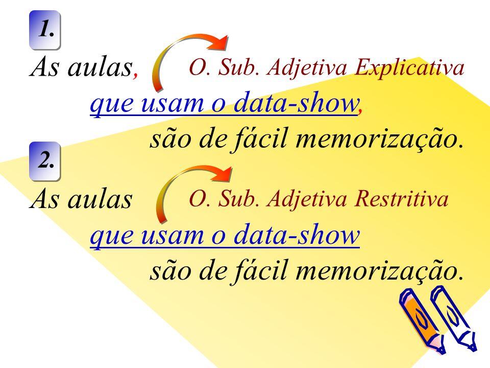 As aulas, que usam o data-show, são de fácil memorização.